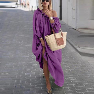 Casual Solid Color Large Size Long Dress