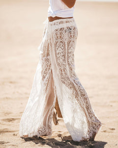 Sexy High-waist Lace Openwork Perspective Pants
