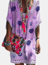 Load image into Gallery viewer, Vacation V Collar Lace Split Joint Printed Loose Dress