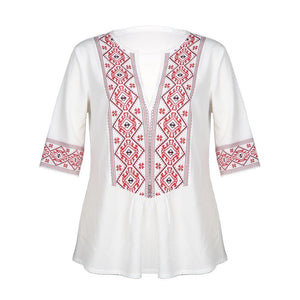 Sexy Loose Deep V-neck Solid Color Printed Five-point Sleeve Shirt