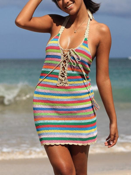 Colorful Striped Halter Knit Sexy Mini Dress