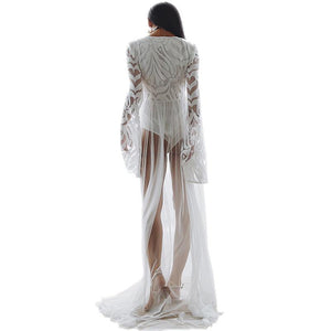 Lace Mesh Yarn Embroidery Solid Color Beach Long Dress