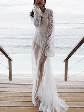 Load image into Gallery viewer, Lace Mesh Yarn Embroidery Solid Color Beach Long Dress