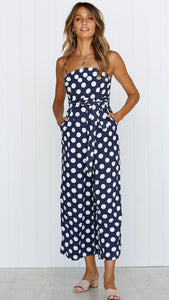 Sleeveless Strapless Straps with Wave Point Jumpsuit