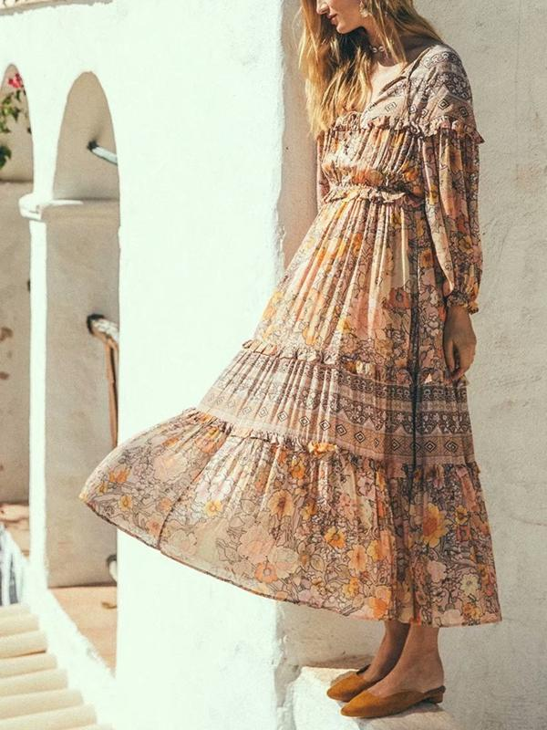 Lace-up Boho Print Long Dress