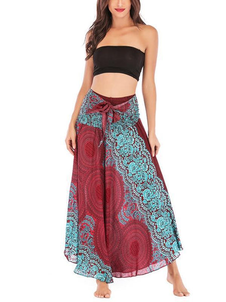 Cotton Silk Print Belly Dance Skirt Beach Ethnic Holiday Style Skirt Dress