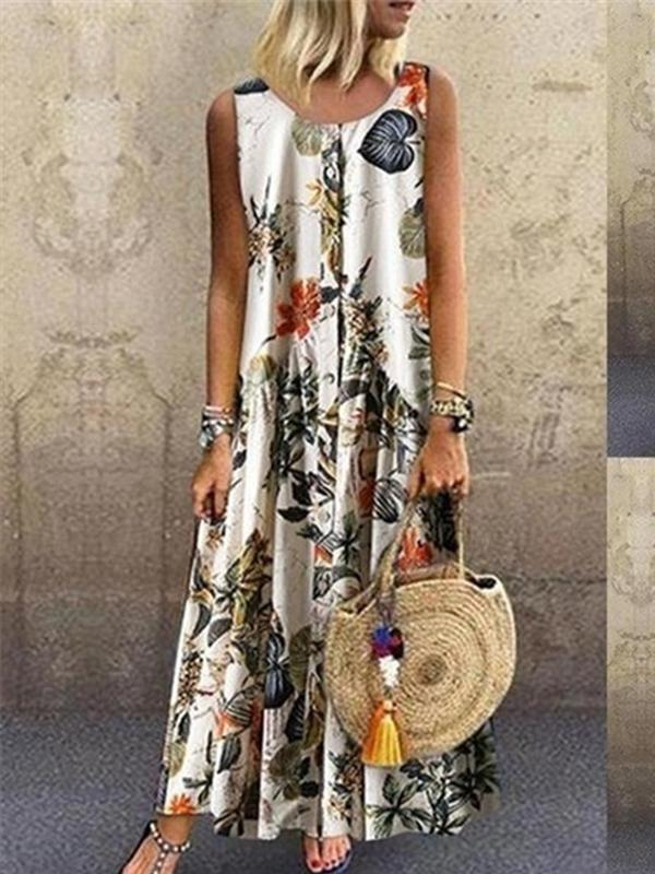Plant Print Casual Sleeveless Long Dress