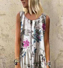 Load image into Gallery viewer, Plant Print Casual Sleeveless Long Dress