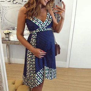 Printed Strap Maternity Midi Dress
