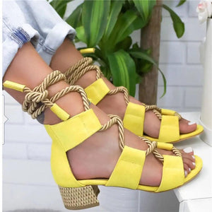 Bohemian Large Size Chunky Heel Strap Sandals
