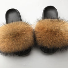 Load image into Gallery viewer, Women's  Fur Flip Flops Flat Soft Fur Slippers outdoor fur slippers