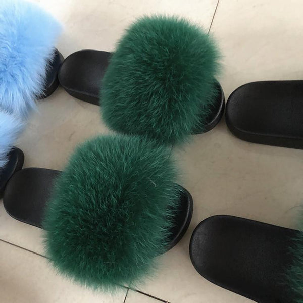 Women's  Fur Flip Flops Flat Soft Fur Slippers outdoor fur slippers