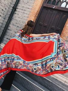 Fringed retro ethnic wind totem cotton and linen sunscreen shawl-1