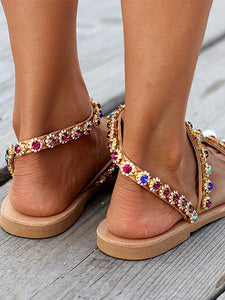 Fashion Toe Color Diamond Flat with Women Sandals