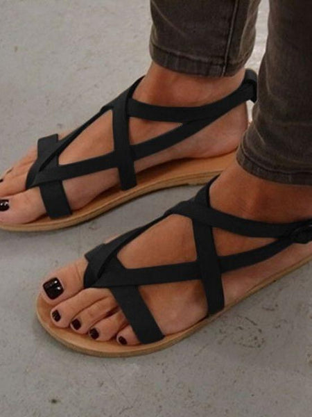 Roman sandals flat with toe sandals round head female
