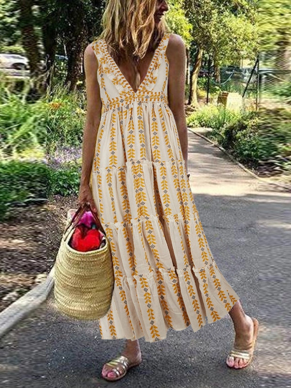 Bohemian V-neck Casual Long Dress