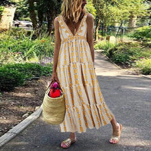 Load image into Gallery viewer, Bohemian V-neck Casual Long Dress