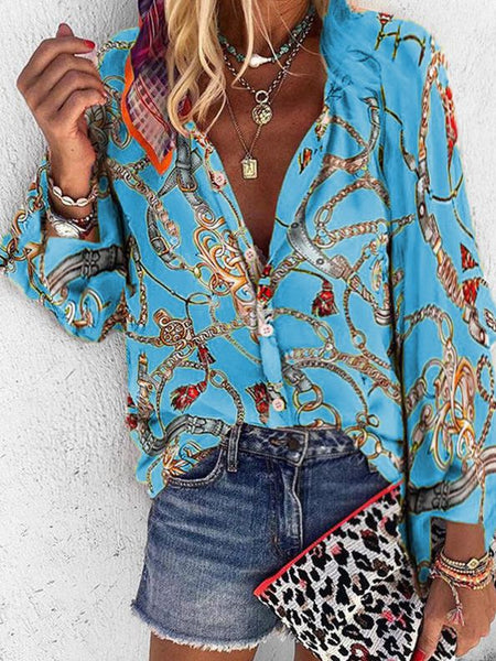 Printed Collar Long Sleeve Casual Shirt