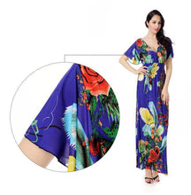 Load image into Gallery viewer, Printed V Neck Short Sleeve Summer Bohemia Maxi Dress