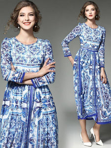 Romantic Blue Flower Print Long Sleeve Round Neck Maxi Dress