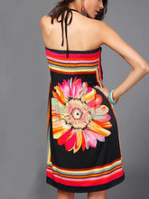 Load image into Gallery viewer, Sexy Bohemia Floral Halter Strapless A Line Mini Dress