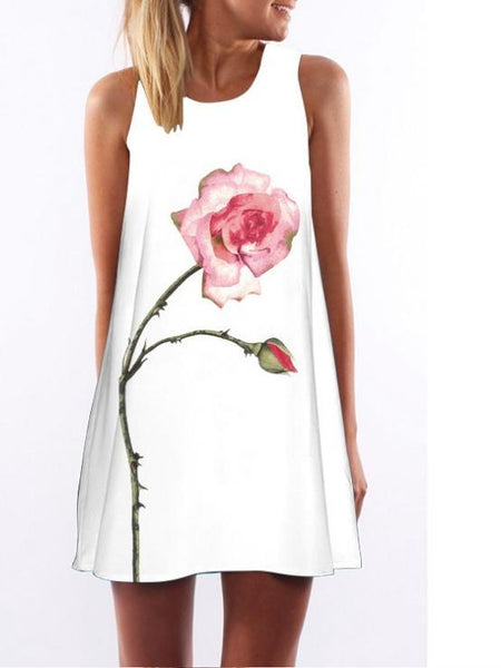 Flower Print Sleeveless Casual Beach Mini Dress