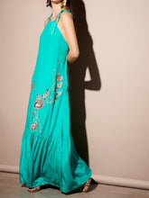 Load image into Gallery viewer, Bright COLOR Embroidered Flower Satin Bohemian Halter Dress