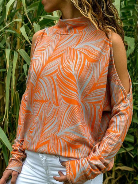 High Neck Long Sleeve Orange Floral Print Knitted Sweater