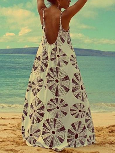Printed Spaghetti Strap Bohemia Beach Maxi Dress