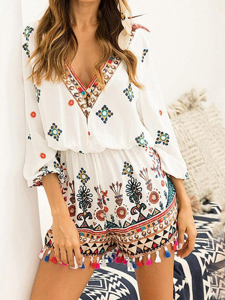 Holiday Bohemian Style Tassel Jumpsuit