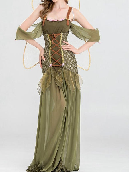 Green Halloween Cosplay Party Maxi Dress