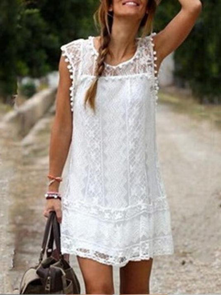 Round Neck Lace Casual Beach Mini Dress