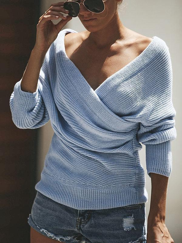 Knit V Neck Solid Color Autumn Sweater