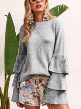 Load image into Gallery viewer, Knit Round Neck Ruffle Sleeve Grey Sweater