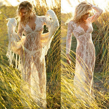 Load image into Gallery viewer, Sexy Lace Hollow Deep V Neck Long Sleeve Maxi Long Dress