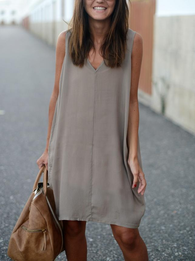 Solid Color Sleeveless Irregular Mini Dress