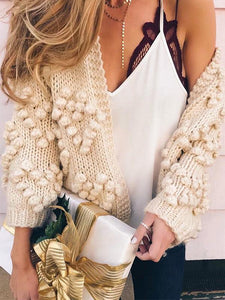 Winter Hairball Knitted Cardigan O Neck Long Sleeve Jumper Sweaters