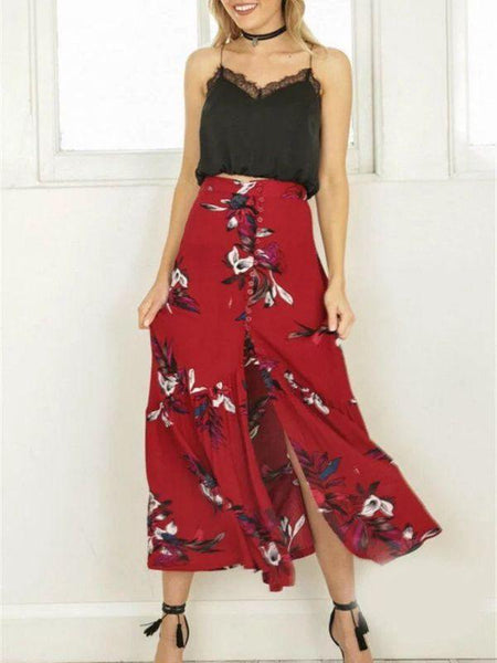 Bohemian Button Print Irregular Holiday Skirt