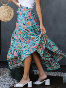 Casual Floral Printed Bohemia Beach Skirt