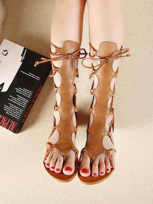 Gladiator Cross Strap Thong Roman Leather Strap Flat Sandals