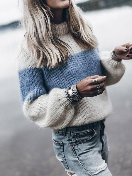 Autumn And Winter Simple Pullover Knit Round Neck Sweater