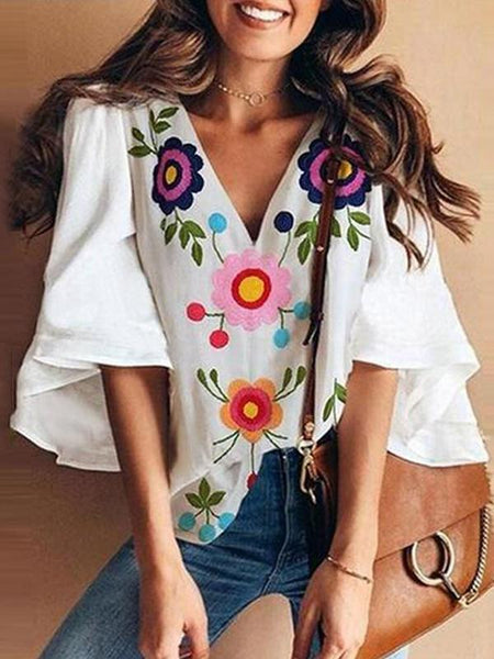 Summer Loose Trumpet Sleeve  V-Neck Floral Blouse Tops
