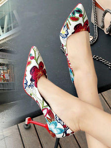 Pointed Heels High Heel Stiletto Flowers Retro Embroidery Shoes