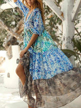 Load image into Gallery viewer, Mid-Sleeve Chiffon Print Bohemian Holiday V-neck Big Swing Long Dress