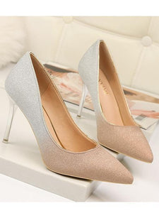 Autumn Gradient Color Pointed Stiletto Super High Heel Shoes