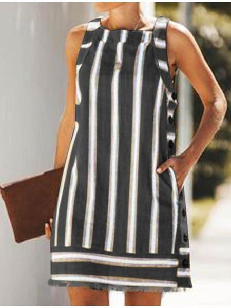 Women Striped Sleeveless Mini Dress Fringed A-line Single Breasted Button Short Dresses
