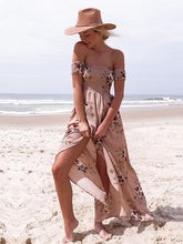 Load image into Gallery viewer, Flower Print Sleeveless Off-the-Shoulder Front Dress