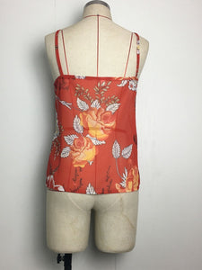 Spaghetti Neck Red Floral-Print Vest T-Shirt Tops