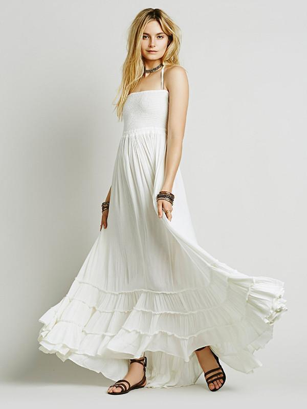 Fashion Sexy Off-Back Lace-up Beach Maxi Dress