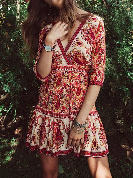 Floral-Printed V Neck Half Sleeve Bohemia Beach Mini Dress